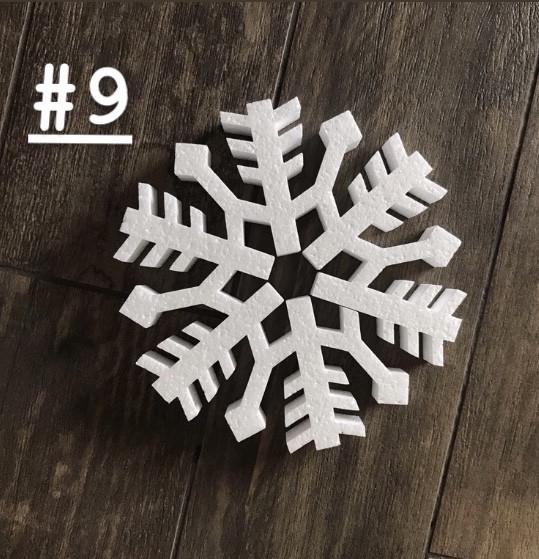 Новогоднее украшение Снежинка из пенопласта №9 15см*2,5см