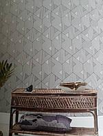 Обои флизелиновые Khroma Wild WIL501 геометрические фигуры 3д треугольники полосы белые черные серебристые