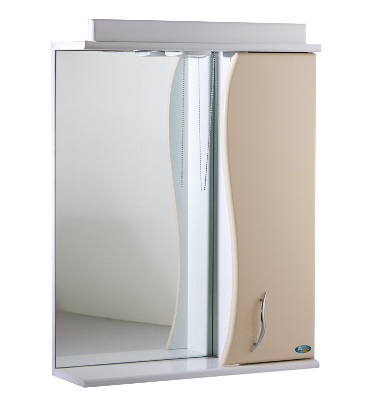 Зеркало АкваСан с подсветкой 50 см Бежевое