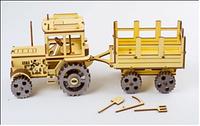 Канструктор Трактор з причепом (Tractor) Механічний 3D пазл