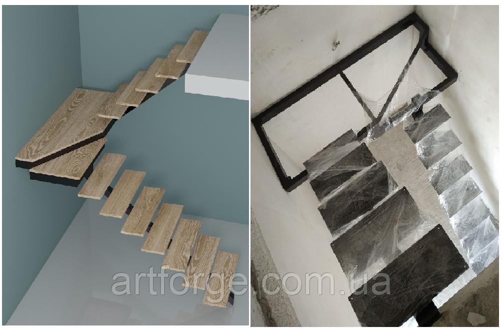 Лестница на центральной несущей (монокосоуре) в картиру, дом, котедж, таун-хаус