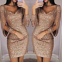 Женское вечернее платье в пайетках с бахромой на рукавах золотое