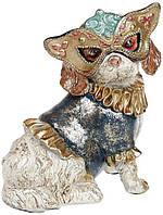 "Декоративная статуэтка ""Собачка на маскараде"" 14.5х12х17.5см, в синем костюмчике"