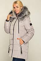 Модная зимняя куртка Simona удлиненная с мехом 46-56 размера серая