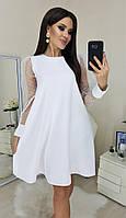 """Нарядное платье-трапеция """"Pollie"""" с рукавами из сетки (большие размеры)"""