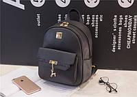Женский кожаный рюкзак стильный. Черный
