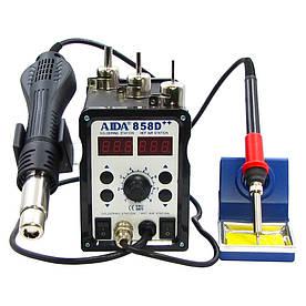 Паяльная станция AIDA 858D++ бескомпрессорная (фен, паяльник с нагревательным элементом Hakko)