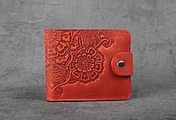 Красный кожаный кошелек с орнаментом ручной работы, женский кошелек