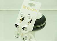 Удлиненные сережки с принтом звезд - модная бижутерия RRR- пусеты в стиле Dior. 224