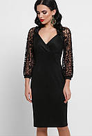 Женское нарядное платье размер от 44 до 50, чёрное с кружевом, облегающее, вечернее, коктейльное
