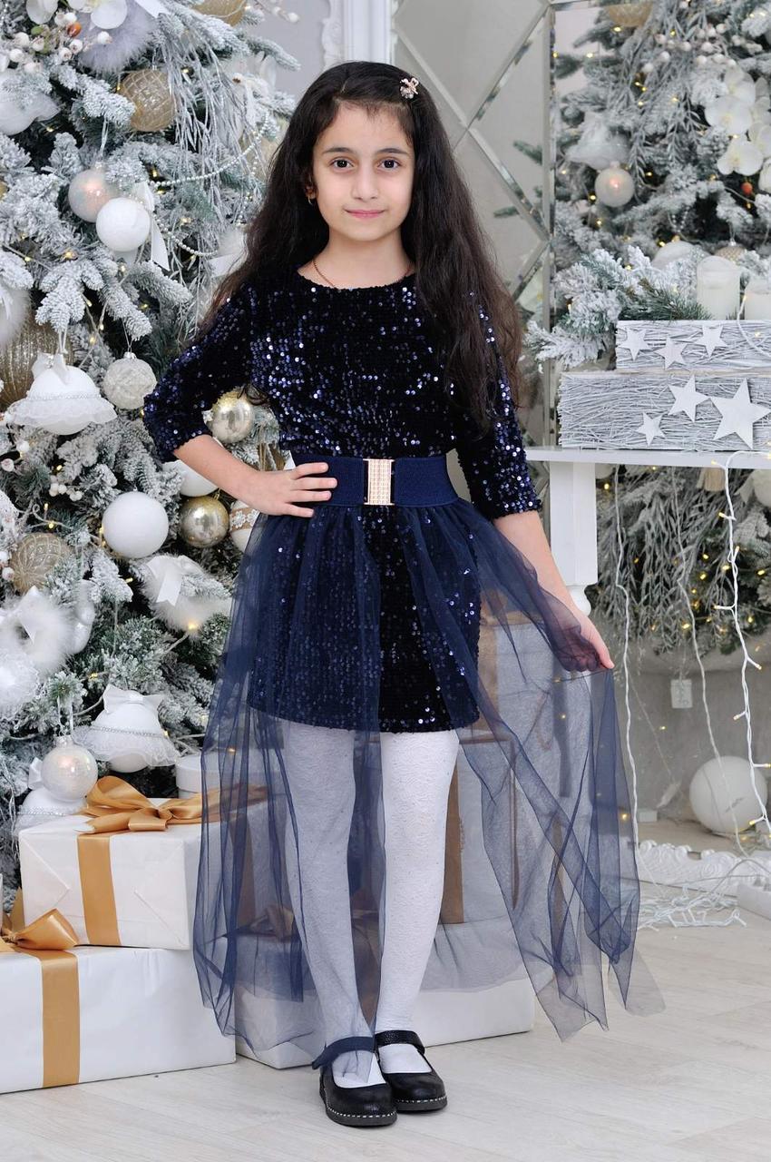 Детское нарядное платье р.128-152 опт т.синие