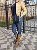 """Сумка женская """"КВАДРО"""" натуральная кожа, синяя-черная с широким ремнем, фото 4"""