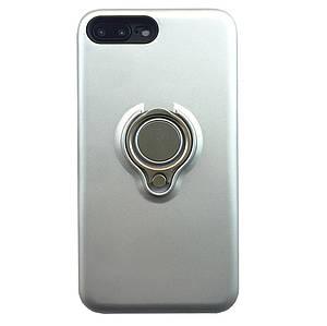 Чехол накладка  для iPhone Х/XS серебряный с магнитным держателем и кольцо, плотный силикон