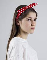 Повязка  на голову  PINx9 красный горох, фото 1