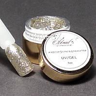 Глиттер-гель жидкая фольга для дизайна ногтей OU Nail Professional, серебро №002