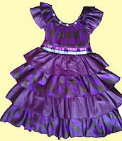 Нарядное детское сиреневое платье, с оборками, р. 2, 3