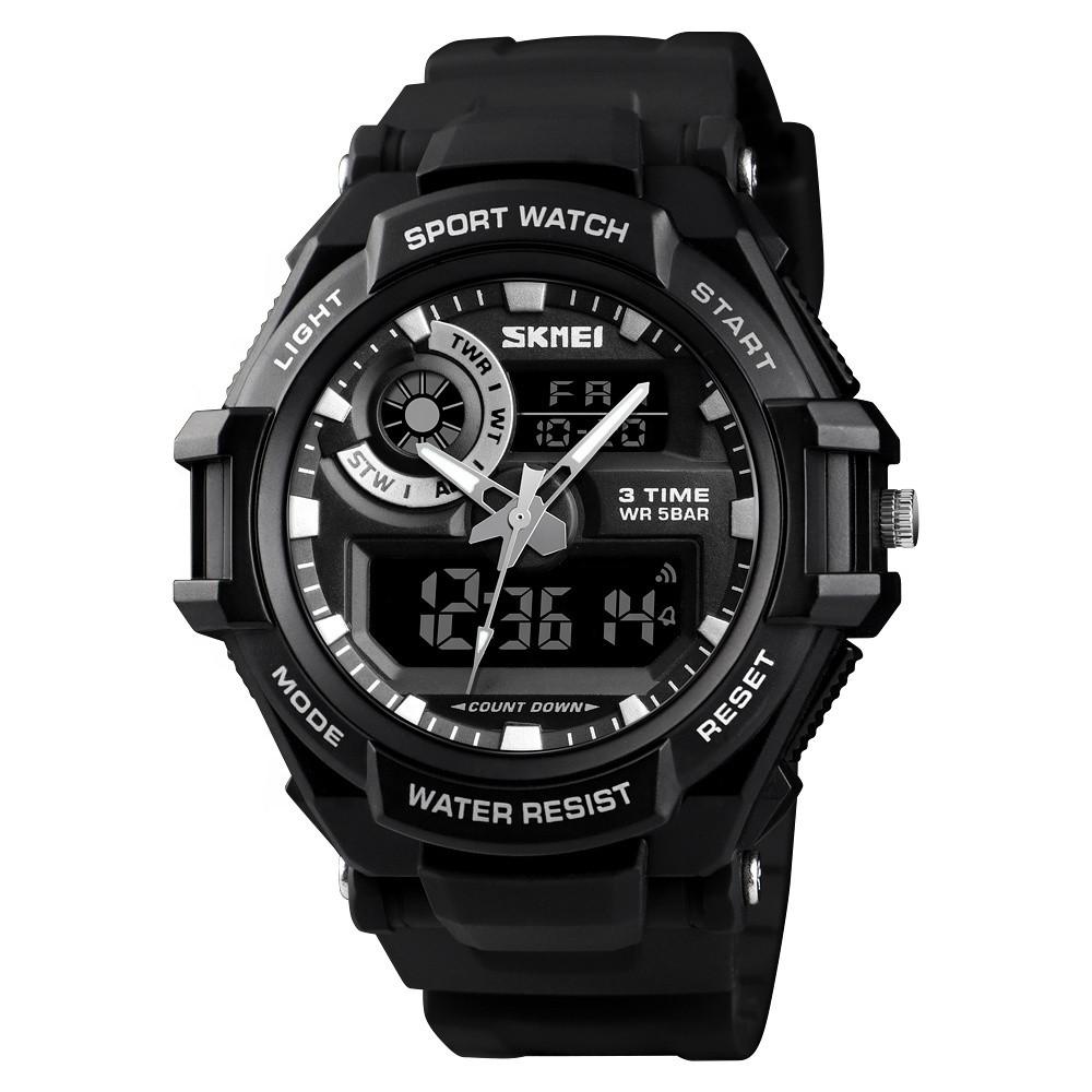 Skmei 1357 черные мужские спортивные часы