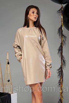 Женское короткое платье из экокожи (Хилари mm), фото 2