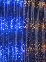 Распродажа! Светодиодная гирлянда, штора, 320 LED, двухцветная (желто-голубая), фото 1