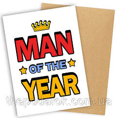 """Открытка с конвертом  """"Man of the year"""" 11х15см"""