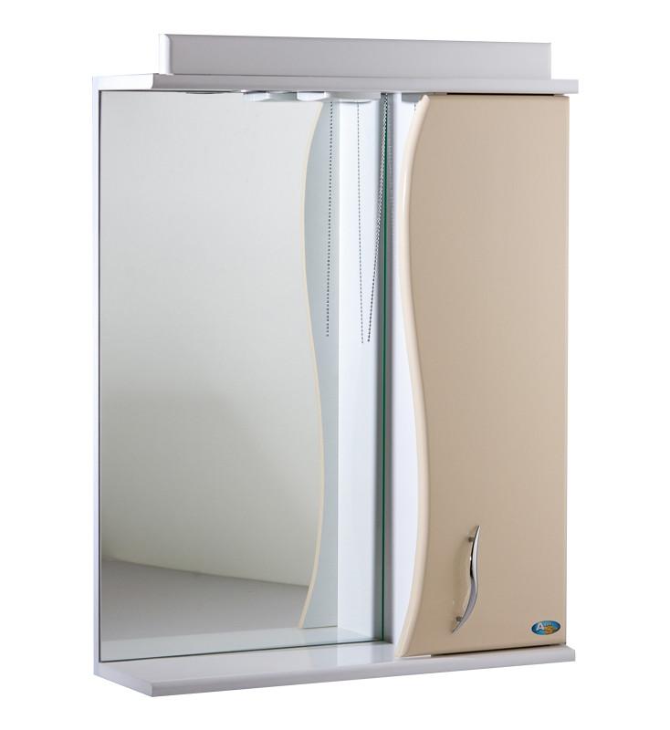 Зеркало АкваСан с подсветкой 55 см Бежевое
