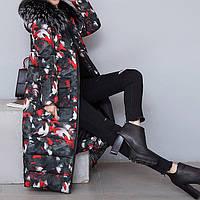 Куртка зимняя женская черная, длинный разноцветный пуховик  СС-8485-35