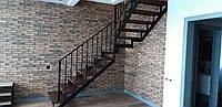 Г-Образная лестница в квартиру. Лестница на универсальном металлическом каркасе., фото 1