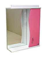 Зеркало АкваСан с подсветкой 55 см Розовое