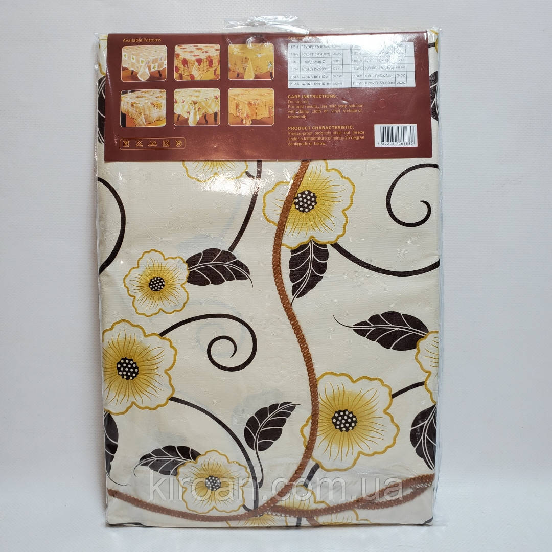 """Клеенчатая скатерть на основе """"Волна"""" 140х200 желтые цветы 01129915"""