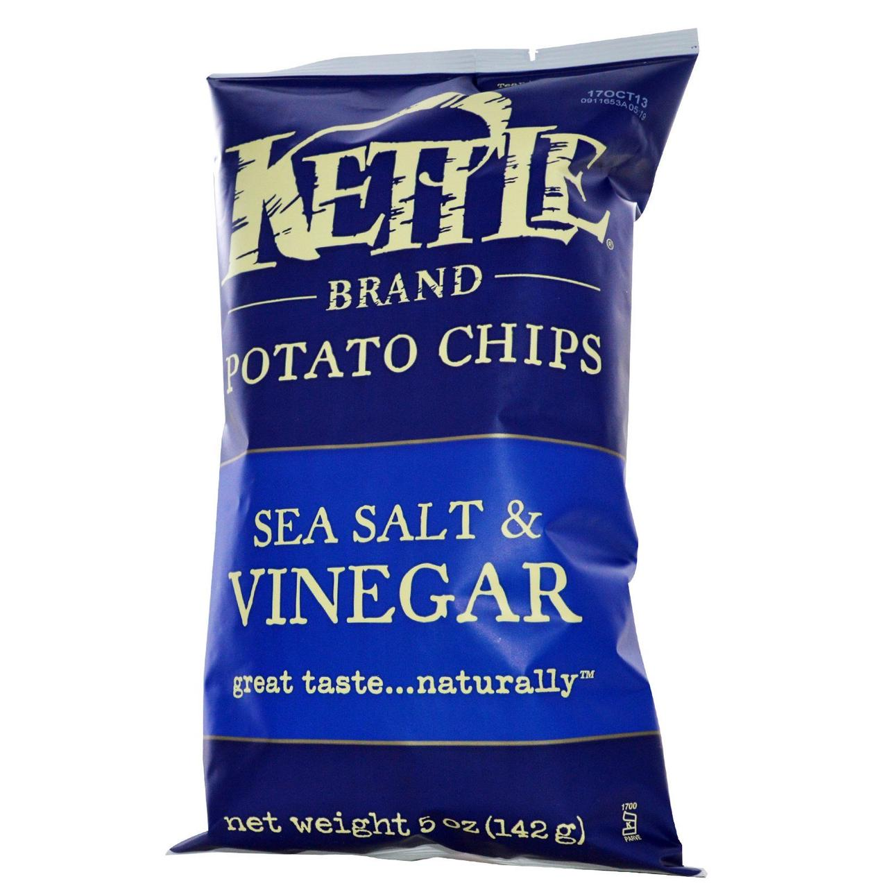 Kettle Foods, Картофельные чипсы,морская соль и уксус, 142 г
