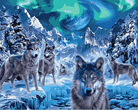 Картина по номерам 40х50см Babylon Turbo Волки и северное сияние