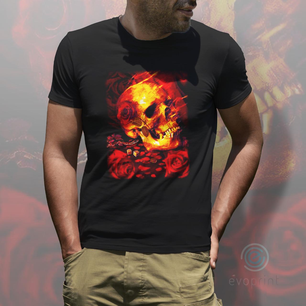 Прямая цифровая печать на черных футболках