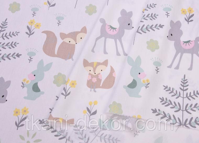 Сатин (бавовняна тканина) м'ятні звірі на лісовій галявині