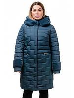 Теплое зимнее стеганое пальто с мехом, размеры 48-56