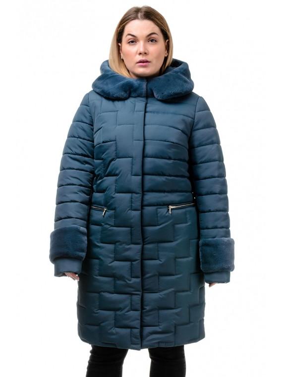 Женское зимнее стеганое пальто с мехом, размеры 48-56