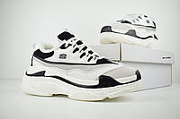 Женские зимние кроссовки на меху в стиле Skechers D'Lites, замша, кожа, пена, белые с черным 38 (23,5 см)