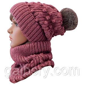 Зимняя шапка бини и снуд ручной работы