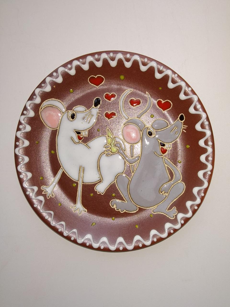 """Блюдце керамическое под чашку """"Влюбленные мышки"""""""