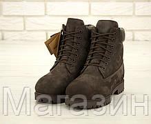 Мужские зимние ботинки Timberland Premium Winter Brown зимние Тимберленд С НАТУРАЛЬНЫМ МЕХОМ коричневые, фото 2