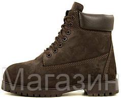 Мужские зимние ботинки Timberland Premium Winter Brown зимние Тимберленд С НАТУРАЛЬНЫМ МЕХОМ коричневые
