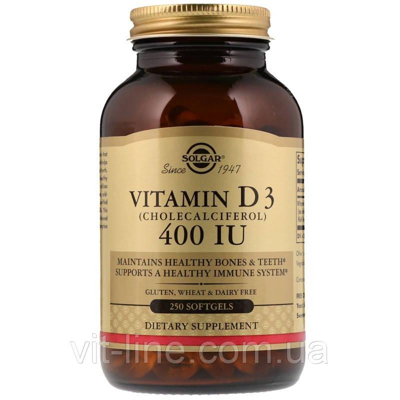 Solgar, Витамин D3, 400 МЕ, 250 жидких гелевых капсул