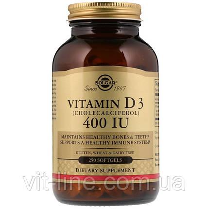Solgar, Витамин D3, 400 МЕ, 250 жидких гелевых капсул, фото 2