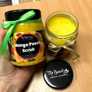 """Органический скраб для лица и тела с кокосовым маслом """"Манго-персик"""" Top Beauty"""