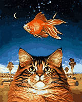 Картина для рисования по номерам на холсте Кот и рыбка 40х50см