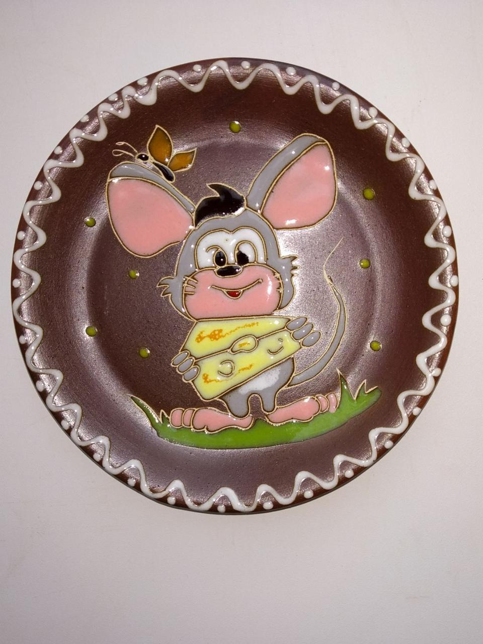 """Блюдце керамическое под чашку """"Мышка добряк с сыром"""""""