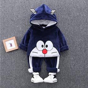 Костюм детский велюровый для девочки  утепленный на плюше синий на 3-4 года