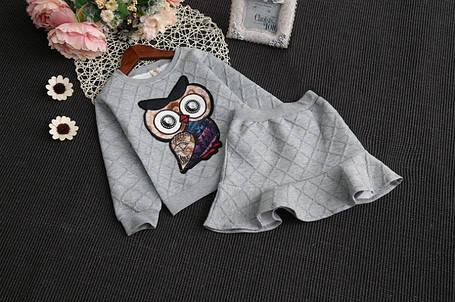 Нарядный костюм детский на девочку с юбкой  3-7 лет Сова, фото 2