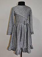 Красивое детское платье в полоску на девочку от 4-9 лет серое, фото 1