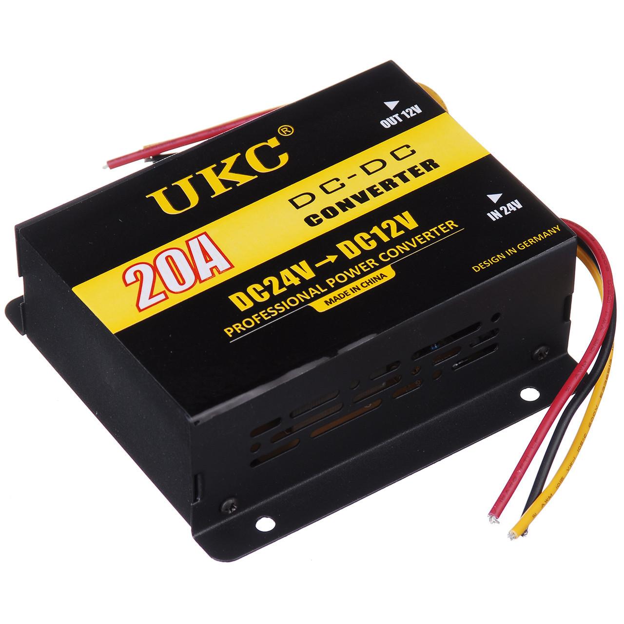 Инвертор-преобразователь UKC DC/DC 24v-12v 20 A (14014)