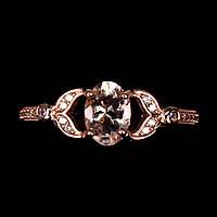 Кольцо серебряное 925 натуральный морганит, цирконий.